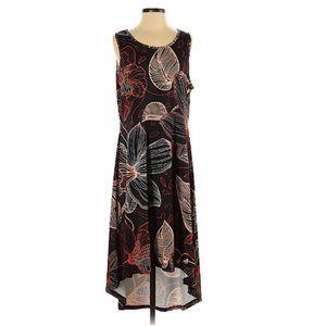 Leaf Print Hi-Lo Flowy Dress